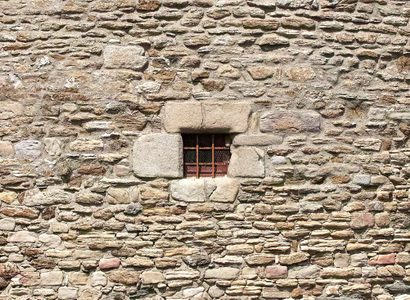 Building with grated window