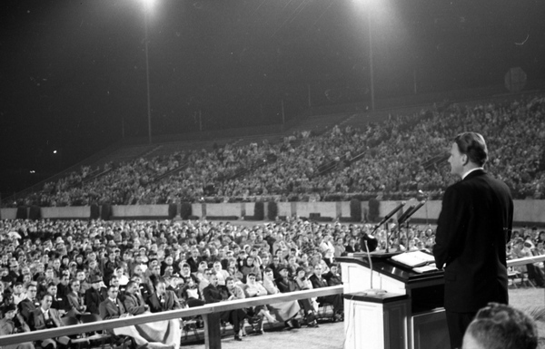 Evangelist Billy Graham speaking at Doak Campbell Stadium in Tallahassee Florida 11928157394