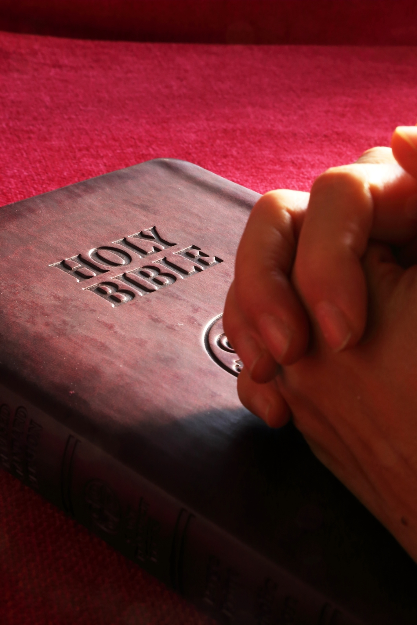 Hands clasped on Bible