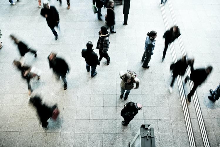 People walking in a train station