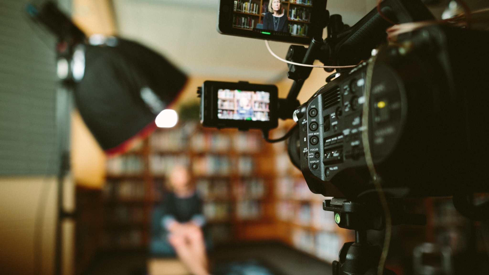 Camera filming headshot