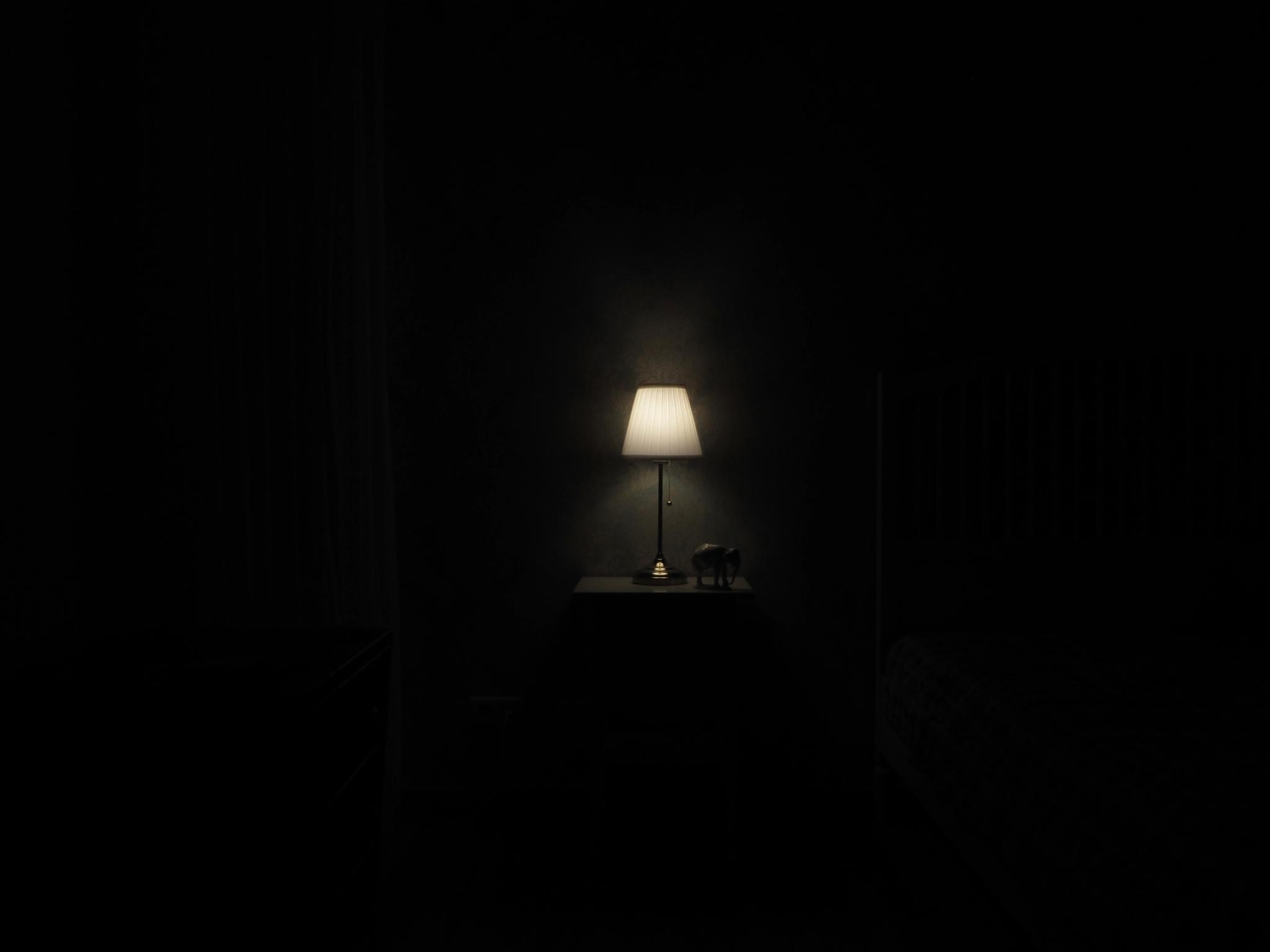 Lamp in dark room