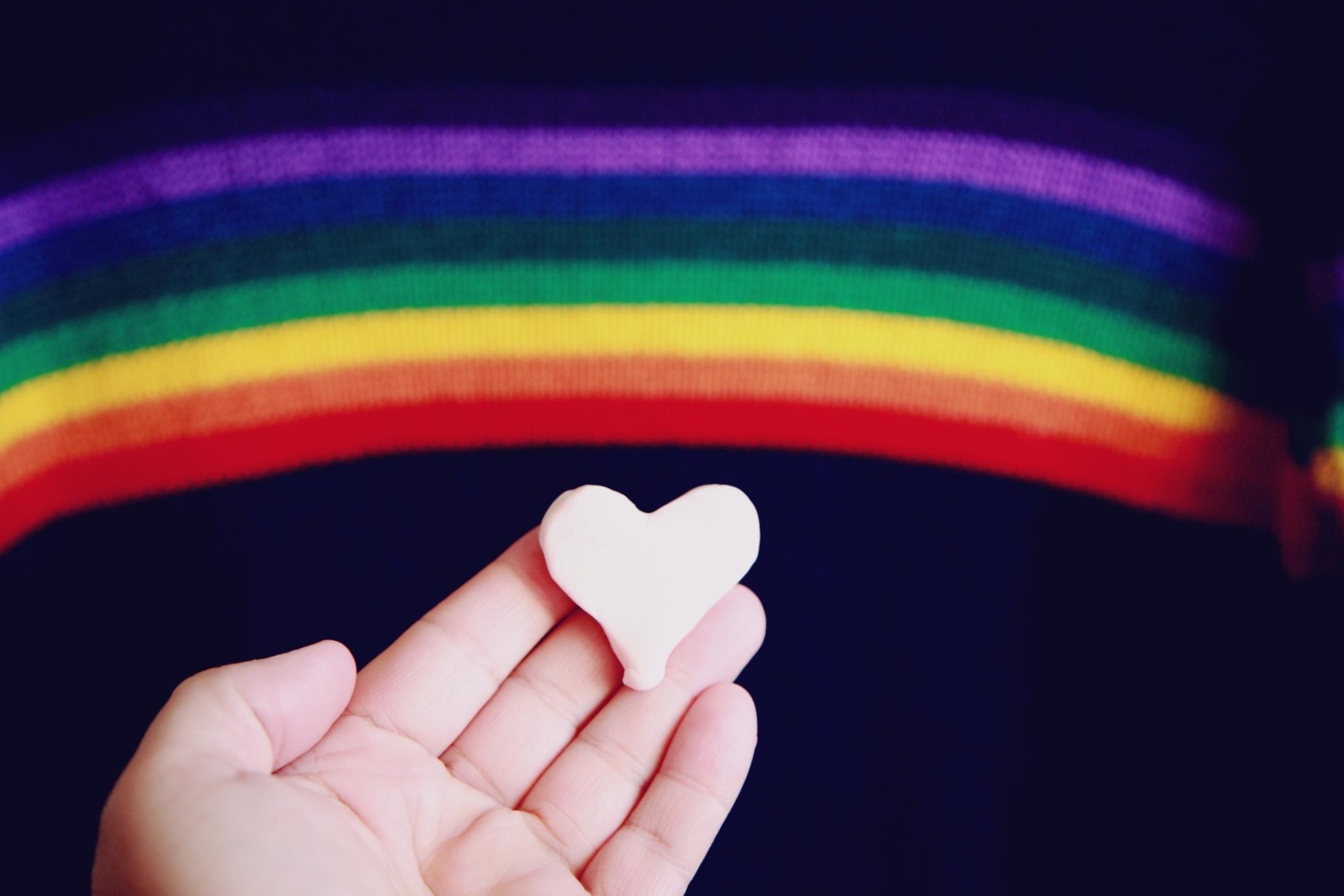 Rainbow heart hand
